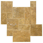Gold French Pattern Brushed & Chiseled Travertine Tile