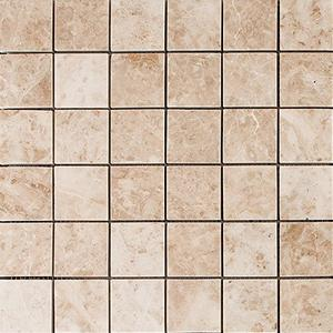 Cappuccino Marble 2x2 Polished Mosaic Tiles in a mesh
