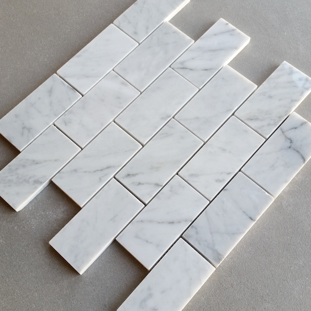 White Carrara (Bianco Carrara) Polished Subway Marble Tile Mosaic 2