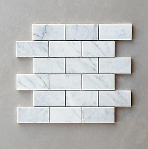 White Carrara (Bianco Carrara) Polished Subway Marble Tile Mosaic 2 x 4 x 3/8