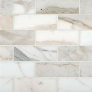 Calacatta Oro 2x4 Honed Subway Mosaic Tile