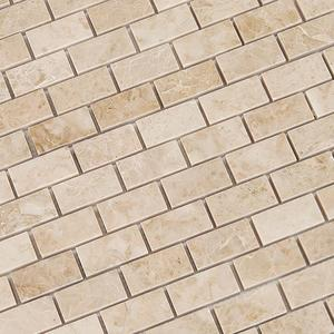 Cappuccino Marble 1 X 2 Brick Polished Mosaic Tiles in a mesh